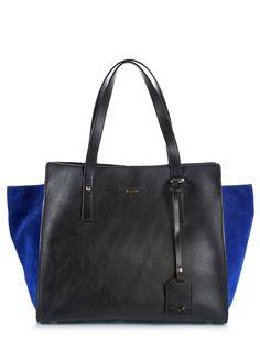 Alberto Guardiani Black calfskin leather and blue royal trapeze shopping bag