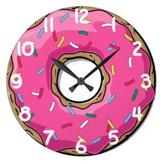 Shop Pink Donut with Sprinkles Large Clock created by DesignedwithTLC. Wall Clock Gift, Diy Clock, Clock Clipart, Donut Drawing, Paint For Kitchen Walls, Cute Clock, Clock Icon, Clock Painting, Leopard Tote