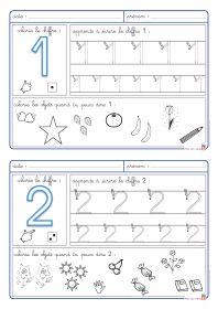 5 fiches pour apprendre à écrire les chiffres de 1 à 5 et pour aborder la numération.