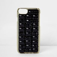 River Island Skinny Dip black jewel iPhone 6 case ($36) ❤ liked on Polyvore featuring accessories, tech accessories, black, phone cases / accessories, women and river island