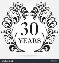 30 years anniversary icon in ornate frame with floral elements. Template for celebration and congratulation design. 30th anniversary label.