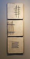 "White with Wire by Lori Katz (Ceramic Wall Sculpture) (48"" x 15.5"")"