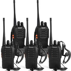 Greaval Rechargeable Walkie Talkies for Adults Long Range with Earpiece 5 Pack UHF 400-470Mhz Two-Way Radios Li-ion Battery and Charger Included * Continue to the product at the image link. (This is an affiliate link)