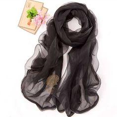 Women's pure silk skull head pattern #black #scarves design