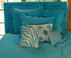 Turquoise Tickles Bedding - turquoise velvet bedding set!  Maybe I could get a sewing buddy to make this??  My tween would LOVE!!