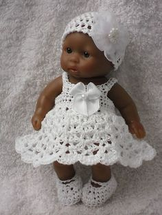 Crocheted Set Clothes for 5 inch Berenguer Doll Itty Bitty OOAK | eBay -White crochet outfit to buy.