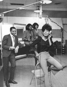 Berry Gordy Jr. watches as the Supremes sing in Studio A at Hitsville on West Grand Boulevard in Detroit on Jan. 14, 1965. (Red Martin / The Detroit News)