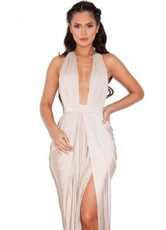house of cb: 'Salima'Champagne Silky Jersey Deep V Maxi Dress EUR €158