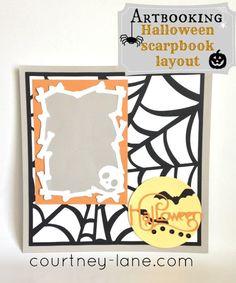 Cricut Artbooking Halloween Scrapbooking Layout.