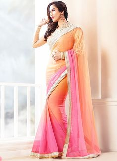 A multy sheded padding plain georgette saree with broad lace border and worked net blouse @ Rs 3,050/- only
