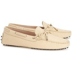 Womens Loafers Tod's Heaven Beige Leather Driving Shoes ($370) ❤ liked on Polyvore featuring shoes, loafers, round cap, leather loafer shoes, genuine leather shoes, round toe shoes and bow shoes