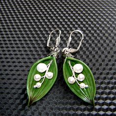 Lily of the valley earrings with freshwater pearls by agatsjewelry, $14.00