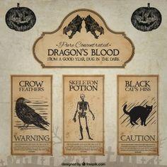 Blut Etiketten Hand gezeichnet Drache