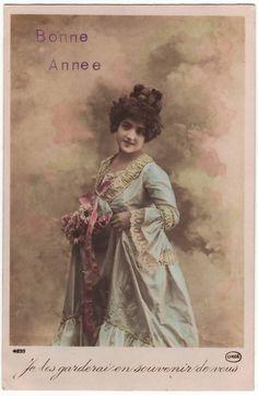 French hand tinted postcard  Edwardian lady