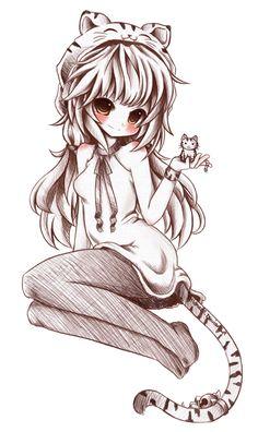 Anime neko tiger girl with baby tigers
