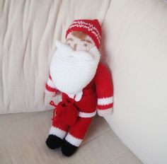 Hand Knitted Toys  Christmas Santa Claus Doll  by earflaphats, $50.00