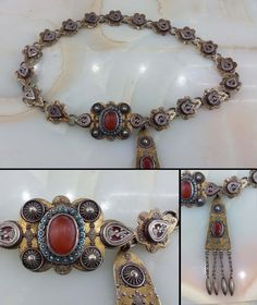 Kazakhstan | Belt; silver, partially gilded, carnelian and turquoise | ca. early 20th century | 1'550$