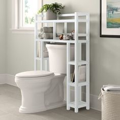 Bathroom Storage Over Toilet, Shelves Above Toilet, Laundry In Bathroom, Bathroom Toilets, Bathroom Shelves, Bathrooms, Behind Toilet Storage, Peach Bathroom, Toilet Sink