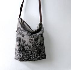 Flower Grey Linen Bag