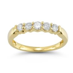 14k Gold 5-Stone Round Diamond Anniversary Band (1/2 cttw, IJ Color, I1-I2 Clarity)
