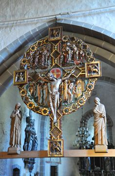 Photo: Triumphal Crucifix of Oja church, Gotland, Sweden. This magnificent piece of Gothic sculpture is the only standing triumphal crucifix in Sweden— the usual practice is to suspend them from the ceiling.