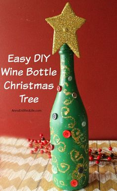 20 Wine Bottle Christmas Crafts To Go For A Festive Decor Blended . Diy Wine Bottle Crafts diy christmas crafts with wine bottles Empty Wine Bottles, Wine Bottle Art, Painted Wine Bottles, Beer Bottle, Decorate Wine Bottles, Corona Bottle, Decorated Bottles, Vodka Bottle, Wine Bottle Christmas Tree