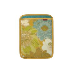 Vintage Floral Wallpaper, Turquoise Green  Brown Sleeves For iPads
