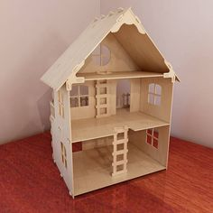 Natural 1:12 scale dollhouse plans. Dolls 4-7 inch (12-16 cm). Instant download. Vector model for router and laser cut. Plywood 4mm/5mm. DIY