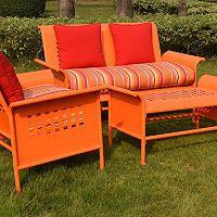 4-Piece Retro Conversation Set with Premium Sunbrella Fabric - Orange - Sam's Club