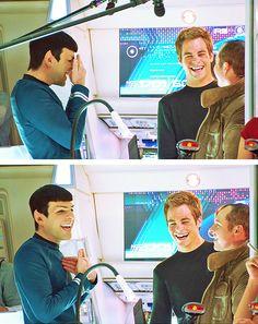 Zachary Quinto, Chris Pine, and Simon Pegg. Star Trek Cast, Star Trek Spock, Star Wars, Zachary Quinto, Zachary Levi, James T Kirk, Star Trek Reboot, Spock And Kirk, Star Trek 2009