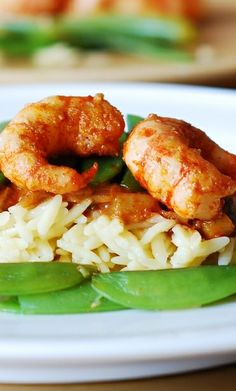 Spicy shrimp curry with veggies.  Use rice (not orzo) for gluten free version!
