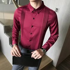Mens Shirt Pattern, Shirt Dress Pattern, Red Shirt Dress, Men's Dress Shirts, Swag Dress, Formal Dresses For Men, Formal Men Outfit, Formal Shirts For Men, Mens Dressing Styles Casual