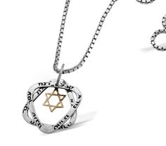 Unique Silver & Gold Star of David Necklace