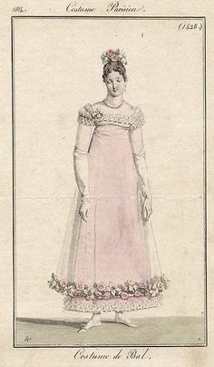 1816-Nice example of the use of netting over a dress.