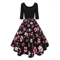 Vintage U Neck Floral Print Pin Up Dress