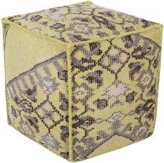 Zahara Ikat Lime/Chocolate Cube Pouf