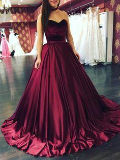 Elegant Prinzessin Weinrot Abendkleider Lang Günstig Satin Abiballkleider Online Kaufen_Brautkleider,Abiballkleider,Abendkleider