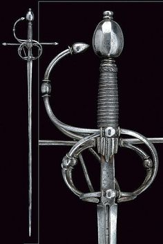 A rapier. Straight, double-edged blade, grooved at the… Swords And Daggers, Knives And Swords, Rapier Sword, Fencing Sword, Small Sword, Sword Design, Arm Armor, Fantasy Weapons, Cold Steel