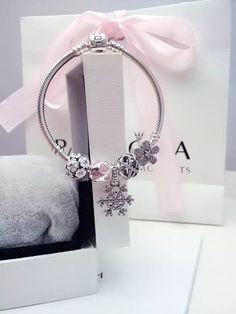 50% OFF!!! $159 Pandora Charm Bracelet Pink White. Hot Sale!!! SKU: CB01983 - PANDORA Bracelet Ideas