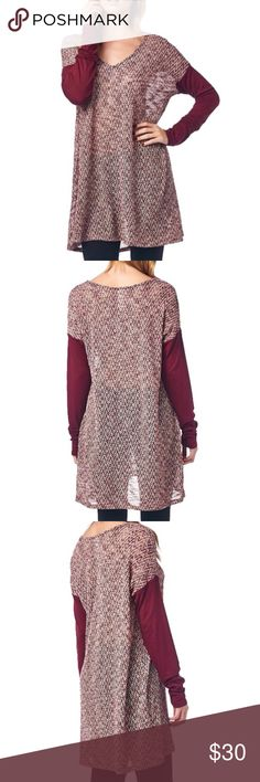 NWT Oversized Burgundy Knit Tunic NWT.  Oversized knit tunic with contrasting burgundy long sleeves and a v-neck.  Rayon/Poly/Spandex.  Made in the USA.  Would easily fit a size medium. Tops Tunics