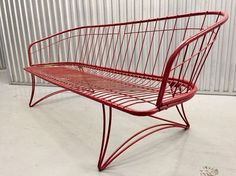 This a fabulous mid century modern wrought Iron sofa design by Homecrest. Strong and stable. Painted burgundy red with minor chipping. Can comfortably seat three. Sofa is being sold without cushions. | eBay!