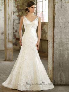 Lace Over Straps V-neck Trumpet Wedding Dress - Buyanewdress.com