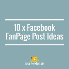 ★ FACEBOOK FOCUS #3 … 10 x Facebook Post Ideas  Following on from the 5 x Facebook Content Strategies   … here are some ideas for posts to look around for and share, or start to create your own.   It's good to have a mix, and I actually work to a 7 day schedule for one of my Fan Pages, using the same post idea the same day each week.  Read on...