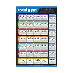 Exercise Wall Chart –  features 35 Total Gym exercises. Use this convenient exercise chart as a quick reference during your Total Gym workout. All new color photos give you a quick snapshot of the most popular Total Gym exercises. Categories include: Chest, Back, Shoulders, Legs, Arms, Abs, Stretch, and Compound. Convenient color and deck card number coding make it easy to find the same exercise in your Total Gym Training Deck for additional instructions. #totalgym #exercises