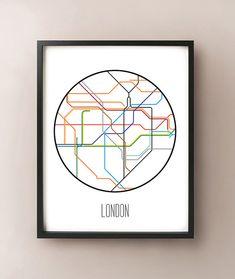 london england minimalist metro subway art print london tube map