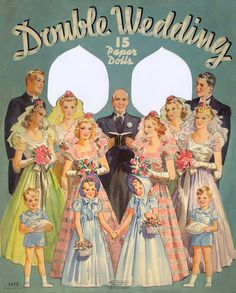 Double wedding 1939 - The entire wedding party and clothes