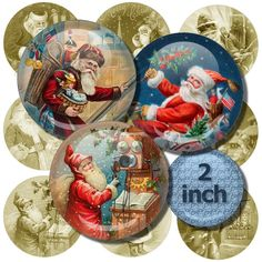 Digital Collage Sheet Santa Images from Old Postcards by DigiBugs