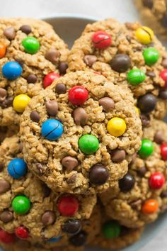 Healthy No Flour Monster Cookies Recipe- soft, chewy and made with 4 ingredients- the BEST flourless cookies made without eggs and dairy- Vegan and Gluten Free! Monster Cookie Recipe No Flour, Soft Cookie Recipe, Cookie Monster, Gluten Free Baking, Gluten Free Desserts, Dairy Free Recipes, Healthier Desserts, Vegan Desserts, Vegan Recipes