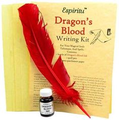 The Dragon's Blood writing kit comes with 5 sheets of parchment, 1 feather to fashion as a quill pen & 1 bottle of Dragon's Blood magical ink to create powerful & enhanced magic seals, spells & petitions. (no metal nib) Easy Spells, Love Spells, Magic Spells, Pagan Witchcraft, Magick, Just Ink, Ppr, Pentacle, Book Of Shadows