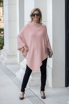 Our Cream And Dusty Rose Cashmere Blend Ponchos